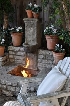 "The James Taylor Porch Fire Pit/Water Fountain - ""I've seen Fire and I've seen Rain."" Maybe use this fire pit design on gravel patio Outdoor Rooms, Outdoor Gardens, Outdoor Living, Outdoor Decor, Unique Gardens, Beautiful Gardens, Fire Pit Backyard, Backyard Fireplace, Backyard Patio"