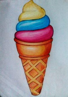 easy pastel oil ice cream drawing drawings colour basic crayon crayons colours
