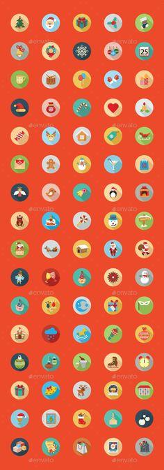 80 Christmas Flat Color Icon Set
