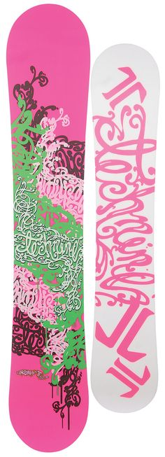 IF IT DIDN'T KNOW BETTER I WOULD THINK THESE WERE   LILLY .... SNOWBOARDS FOR THE WEEKENDS!!!!!!   Technine Dime Series Snowboard Hot Pink/Green 152 - Women's Snowboards