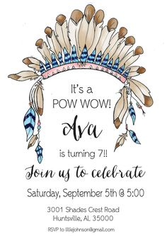 Pow Wow Indian Birthday Party by LilliesPapeterie