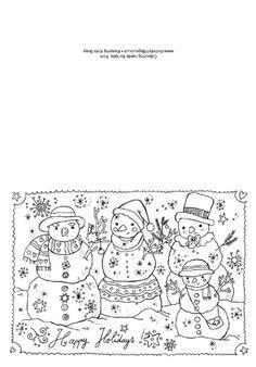 Christmas colouring card - Christmas Snowmen