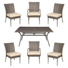 Hampton Bay Fall River 7 Piece Patio Dining Set With Dragon Fruit  Cushion DY11034 7PC R   The Home Depot | Patio Dining Sets | Pinterest | Fall  River, Patio ...