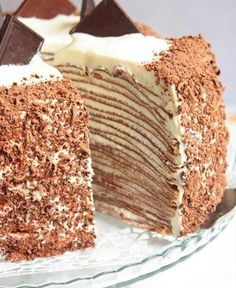 Most delicious recipes: Pancake cake Russian Cakes, Russian Desserts, Russian Recipes, Napoleons Recipe, Napoleon Cake, Cake Recipes, Dessert Recipes, Pancake Cake, Crepe Cake