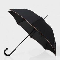 Paul Smith Umbrellas - Black Signature Stripe Trim Walker Umbrella