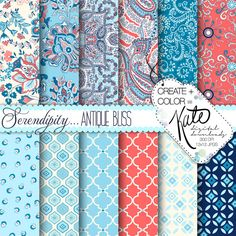 INSTANT DOWNLOAD Serendipity Paisley Digital by CreateColorKate, $5.50