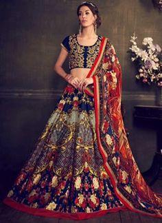 Blue Embroidery Work Silk Georgette Designer Printed Lehenga Choli        #LEHENGA #Choli #Wedding #Bridal       http://www.angelnx.com/Lehenga Choli