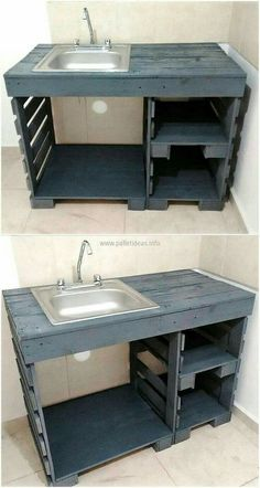 Household Things To Make Yourself With Wooden Pallets wood pallets sink plan Diy Pallet Furniture, Diy Pallet Projects, Wood Projects, Pallet Ideas, Furniture Ideas, Diy Pallet Kitchen Ideas, Pallet Couch, Kitchen Furniture, Pallet Furniture Instructions