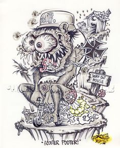 Johnny Ace Original Art Rat FINK Monster ED Big Daddy ROTH MINI BIKE Weirdo! #JohnnyAceStudios
