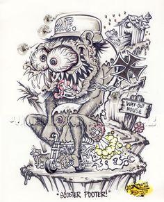 Johnny Ace Original Art Rat FINK Monster ED Big Daddy ROTH MINI BIKE Weirdo! #JohnnyAceStudios