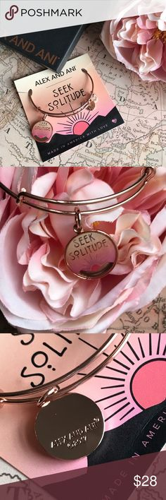 """Alex and Ani """"Seek Solitude"""" Bangle in Rose Gold Every once in a while, it's refreshing to seek a little solitude. This sweet, colorful charmed bangle from Alex and Ani is the great reminder. The """"perfect addition to your charmed arm."""" Price is firm unless bundled. Alex & Ani Jewelry Bracelets"""