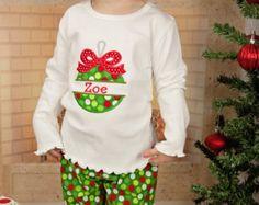 Christmas Ornament Shirt,Girls Christmas Shrit,Embroidered Applique Shirt Bodysuit