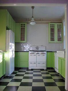 retro kitchen - love the floor! alternately (not in a kitchen necessarily, i love apple green, black and white - so crisp!)