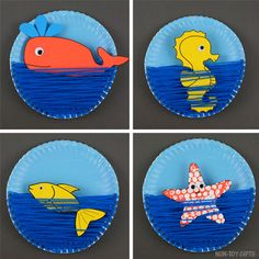 A yarn and paper plate ocean craft for kids to make this summer. Printable templ… A yarn and paper plate ocean craft for kids to make this summer. Printable template available for the ocean/sea animals: fish, whale, seashorse & star fish. Paper Plate Crafts For Kids, Summer Crafts For Kids, Crafts For Kids To Make, Art For Kids, Paper Crafts, Craft Kids, Toy Craft, Canvas Crafts, Summer Fun