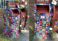Yarn bombed letter box