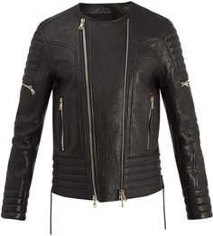 Balmain Double-zip Grained-leather Jacket In Black Balmain Leather Jacket, Balmain Men, Leather Jackets, Motorcycle Jacket, Bomber Jacket, Staple Pieces, Black Cotton, Menswear, Mens Fashion
