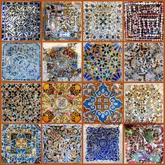 Mosaic Collage Print of Parc Guell Colorful Tiles. Gaudi Barcelona Spain.