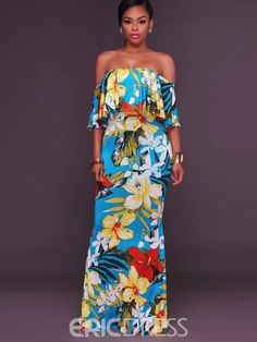 online shopping for Charmore Women's Off Shoulder Floral Print Ruffle Homecoming Long Maxi Dress from top store. See new offer for Charmore Women's Off Shoulder Floral Print Ruffle Homecoming Long Maxi Dress