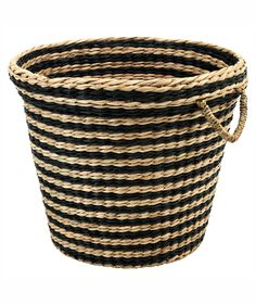 This handwoven container with a black stripe pattern makes a chic planter for an indoor tree. It's also a stylish catchall for toys, blankets and pillows, or even papers to recycle. With woven handles, it's easily totable too.