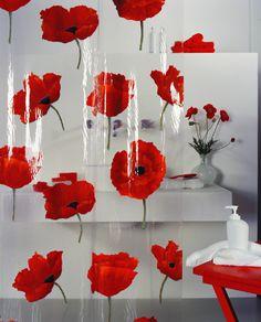 Beautiful #Spirella Poppy Shower Curtain. #bathroom #poppy #red