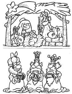 Colorear navidad reyes magos