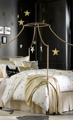 Black Gold Bedroom The Emily And Meritt Liquid Gold Throw Girls Bedroom, Teenage Girl Bedrooms, Big Girl Rooms, Bedroom Themes, Bedroom Ideas, Bedroom Black, Bedroom Decor, Bedroom Furniture, Star Bedroom