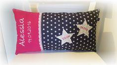 Kissen - Namenskissen Kissen Name Daten Sterne grau pink - ein Designerstück von Tante-Ninna bei DaWanda