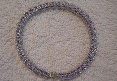 Silver Plated Viking Knit Bangle Blue Beads by BraceletsByJoy