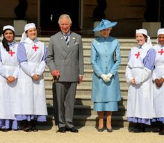 The Prince of Wales, President, and Princess Alexandra, Deputy President, attend a garden party to celebrate 150 years of the British Red Cross at Buckingham Palace, 12 June 2014.