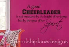 A Good Cheerleader Removable Vinyl Wall Decal Words Quote Sticker Girls Room Cheerleading Bedroom, Cheerleading Quotes, Cheer Quotes, Removable Vinyl Wall Decals, Wall Decal Sticker, Cheer Decorations, Wall Stickers Sports, Kids Cheering, Cheer Banquet