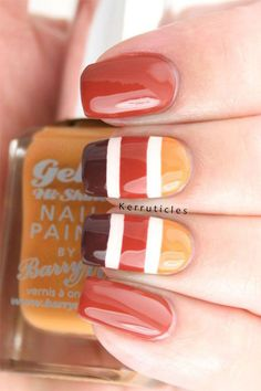 While striped nail art works for any season, orange hues make the look perfect for Fall. Do this cute nail design as gel manicure or even on acrylic nails. Find more cute Fall nail designs that are simple to do here.