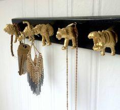 Jewelry Hanger, Key Rack,  Wall Hanging jewelry Organizer, animal head hooks, key rack, Necklace hanger, jewelry display, jewelry holder by MidCityMod on Etsy https://www.etsy.com/listing/234005051/jewelry-hanger-key-rack-wall-hanging