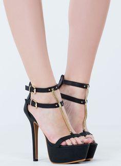 Chained Fox Strappy Platform Heels BLACK WHITE - GoJane.com