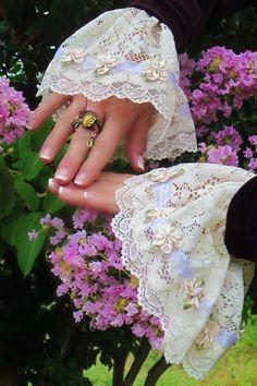 Lace Cuffs Victorian Feminine Steampunk by GypsyJinglesBoutique, $25.00