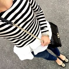IG @mrscasual <click through to shop this look> striped peplum top. Jcrew toothpick jeans. Tory burch reva flats. Rebecca Minkoff love cross body bag
