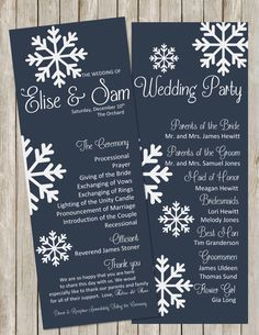DIY Printable Elegant WINTER Wedding Program Snowflakes Wedding Programs Winter Wedding Navy   White Color can be Customized to Your Wedding by PerfectedbyGrace on Etsy