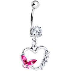 Pink Butterfly Open Heart Dangle Belly Ring | Body Candy Body Jewelry #bodycandy