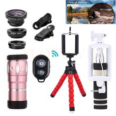 Camera lens Kit With Clips Tripod+Telescope 10X Zoom Telephoto Lentes Fish eye Wide Angle Macro Lenses For iPhone 5 5S 6 6S 7 #Affiliate