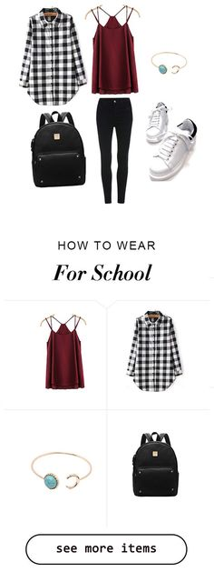 How to wear outfit for school? Summer slip top+black white shirt+black skinny+cute backpack. Casual & lovely. By Shein