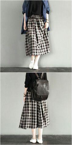Grid skirt women clothes fashion linen dress