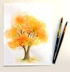 You can paint this fall color tree in 10 minutes, no art experience needed! Try some fun and unusual methods to make a lovely watercolor painting! via A Piece Of Rainbow
