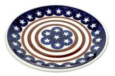 Polish Pottery Stars & Stripes Dessert Plate:Amazon:Kitchen & Dining