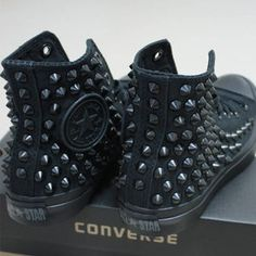 Genuine CONVERSE Black with studs & chains All-star Chuck   Etsy Converse All Star, Studded Converse, Bling Converse, Studded Sneakers, Converse Shoes, White Converse, Custom Converse, Rhinestone Converse, Mode Shoes