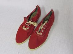 Vintage 50s Shoes Tennis Sneakers RED Canvas PF Pointy Toe Rockabilly Deadstock #unknown #Athletic