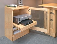 Computer Desk with Printer Cabinet Woodworking Plan Printer Desk, Printer Storage, Printer Cabinet, Small Printer, Home Office Organization, Office Storage, Kitchen Modular, Desk Layout, Small Master Bedroom