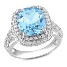 Cushion-Cut Blue Topaz and Lab-Created White Sapphire Frame Ring in Sterling Silver - Zales