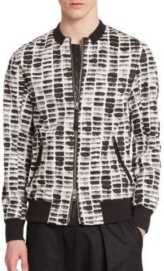 $620, White and Black Print Bomber Jacket: Helmut Lang Textured Pattern Cotton Bomber Jacket. Sold by Saks Fifth Avenue. Click for more info: https://lookastic.com/men/shop_items/271943/redirect