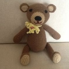 """The flower the bear wears is the """"Marguerite"""" that is explained in one of my other patterns."""