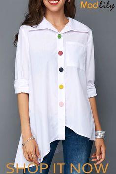 Women's Work Womens Tops For Women Asymmetric Hem Button Up Pocket White Blouse Stylish Tops For Girls, Trendy Tops For Women, Blouses For Women, Mode Hijab, Shirt Blouses, Ideias Fashion, Clothes, Tops Online, Shirts Online