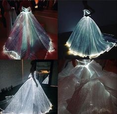 Fairytale Sky-Blue Transparent Glass Cinderella Ball Gown